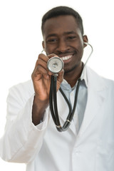 African-American black doctor man isolated white background.