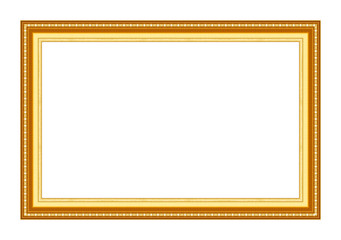 Gold picture frame Isolated on white background, Clipping path background, Clipping path