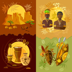 African set, culture and traditions vector illustration