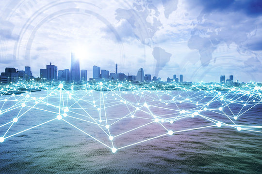 modern city skyline and mesh network concept