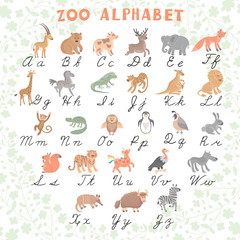 Cute vector zoo alphabet. Funny cartoon animals. Letters. Learn to read and to write.