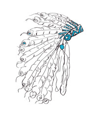 Indian headdress with feathers