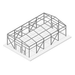 Hangar Metal Frame Isometric View. Vector