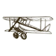 Plane Hand Draw Sketch. Vector