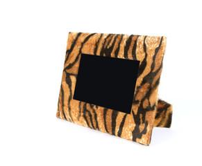 Wildlife fur tiger photo frame isolated on white