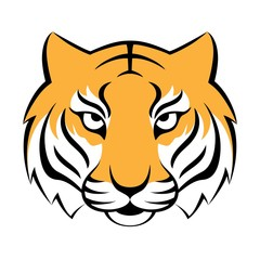 Tiger icon. Vector illustration for logo design, t-shirt print. Tiger mascot.