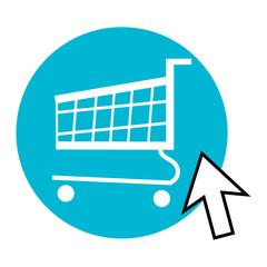 Online shopping, cart vector.