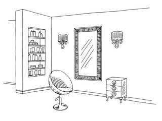 Hairdressing salon graphic black white interior sketch illustration vector