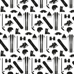 Seamless pattern with winter sports equipment on white backgroun