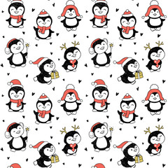 seamless pattern with Winter Holidays cute vector penguins set