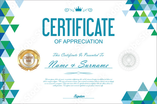 certificate template abstract geometric design background