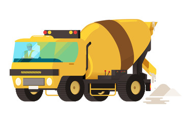 Concrete mixer truck. concrete machine truck. vector illustratio