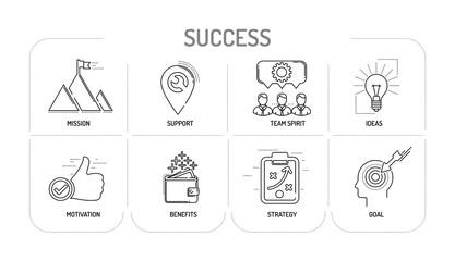 SUCCESS - Line icons Concept