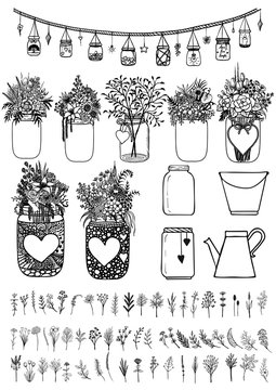 Big set of mason jars and wild flowers for design element for wedding cards, gift card, Valentines card and so on. Stock Vector