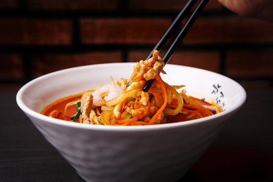 Chinese-style noodles with vegetables and seafood. JJamppong, 짬뽕