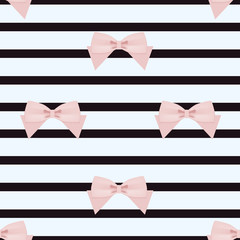 seamless pattern with pink ribbons on a striped background