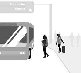 Bus service vector silhouette Airport bus with people transport background