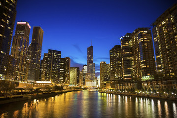 Fototapete - Skyline of Chicago along the river
