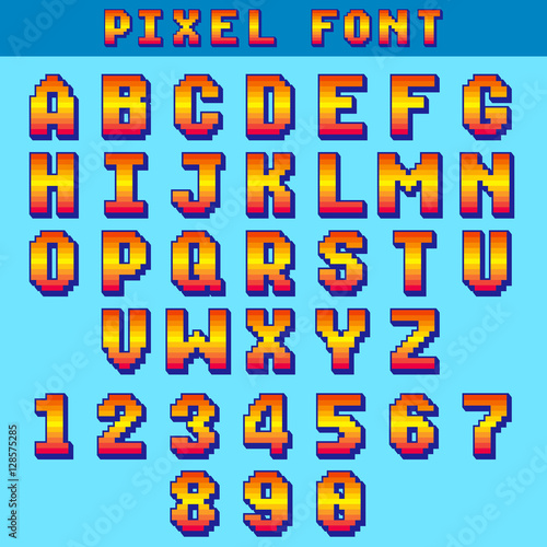 Video game pixelated 3d font  8 bit pixel art old school