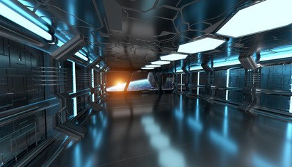 Spaceship interior with view on the planet Earth 3D rendering el