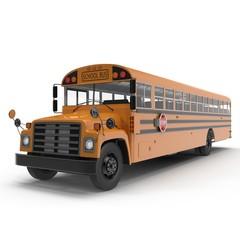 yellow school bus on white. 3D illustration