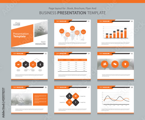 Page Layout Design Template For Business Presentation Page With Page - Presentation cover page template