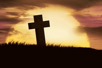Silhouette of christian cross