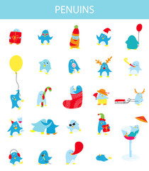 Cute penguins vector set
