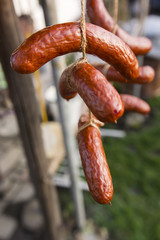 Cooling with smoked sausage.