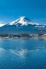 Mt Fuji in the early morning with reflection on the lake kawaguc
