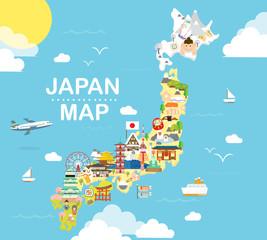 Japan travel map in flat illustration.