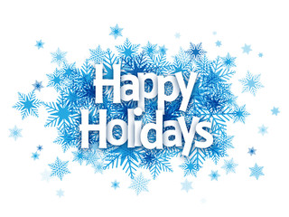 """HAPPY HOLIDAYS!"" Overlapping Letters Vector Icon on Snowflake Background"