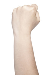clenched fist, a symbol of strength and violence, isolated on wh