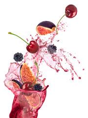 Fresh fruits, berries falling , fruits splash, isolated on white