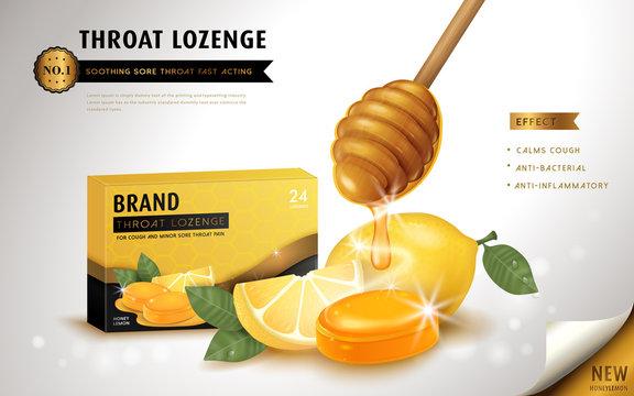 Honey lemon throat lozenge