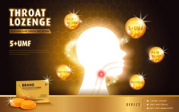 Honey throat lozenge
