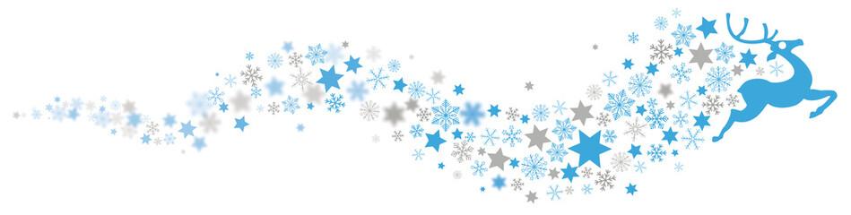 Rentier mit einem Schweif aus Sternen und Schneeflocken Headline
