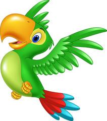 Cartoon happy parrot flying