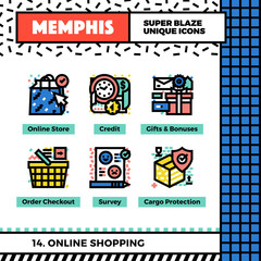 Online Shopping Neo Memphis Icons