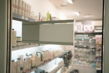 Beautician shop with cosmetic goods