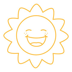 Coloring Page Illustration of Cartoon Sun