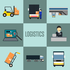 Logistics company and warehouse icon set isolated vector illustration. Forklift truck, storage terminal, logistics manager, freight commercial truck, laptop with delivery map. Freight transportation