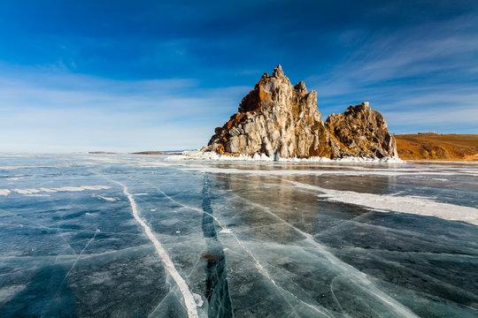 Shaman Rock, winter Lake Baikal. Russia