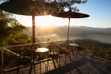 The cafe on the hill at sunset, Mae hong son, Thailand