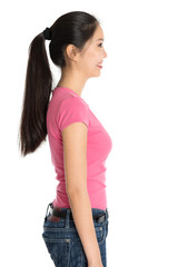 Profile view of young Asian girl