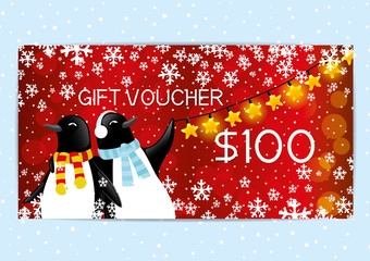 Gift voucher with penguins.