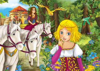 Cartoon scene with cute royal charming couple of women in the forest near the castle - cheerful sisters - beautiful manga girl - illustration for children