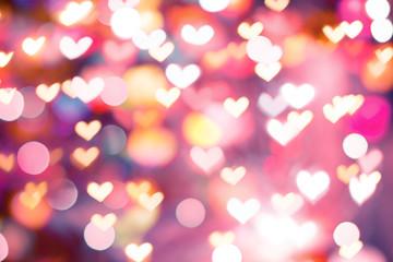 defocus bokeh light filtered heart abstract background.