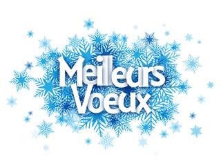 """Carte """"MEILLEURS VOEUX"""" avec flocons de neige"""