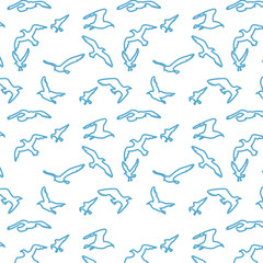Seamless texture with flying seagulls. Pattern. Vector.